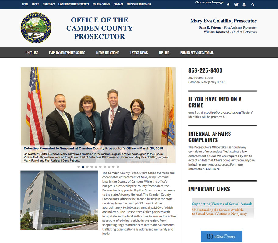 Camden County Prosecutor's Office // NJ WordPress Web Design